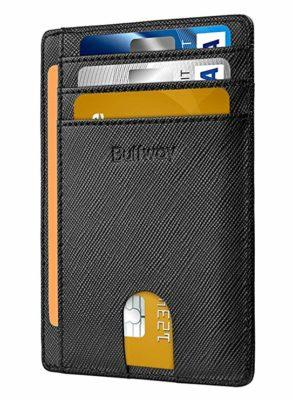 Best Slim: Buffway Slim RFID Blocking Leather Credit Card Wallet