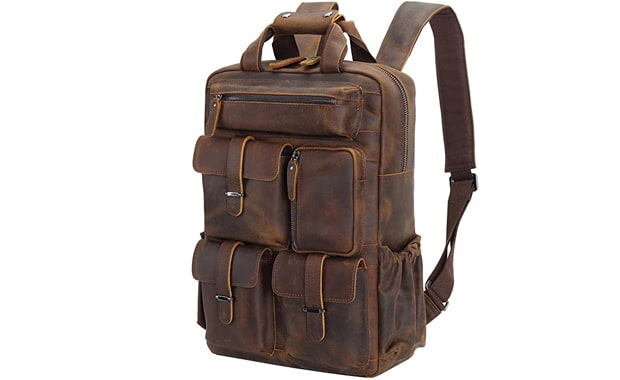 Polare Multiple Laptop Cowhide Leather Backpack