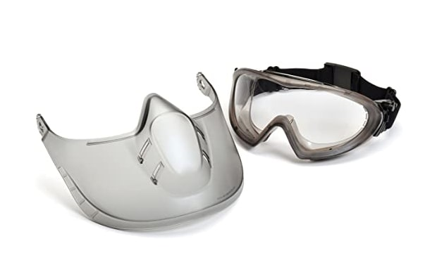 Pyramex Capstone Shield Safety Glasses and Face Shield for Full-Face Protection