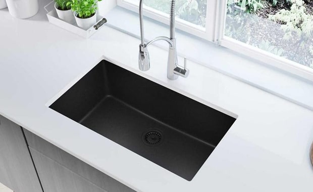 Elkay Quartz Classic ELGRU13322BK0 Black Single Bowl Undermount Sink