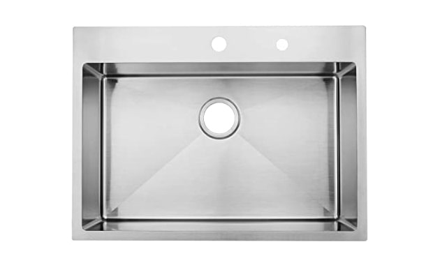 Commercial 28 inches 16 Gauge Top mount Drop-in Single Bowl Basin Handmade T304 Stainless Steel Kitchen Sink