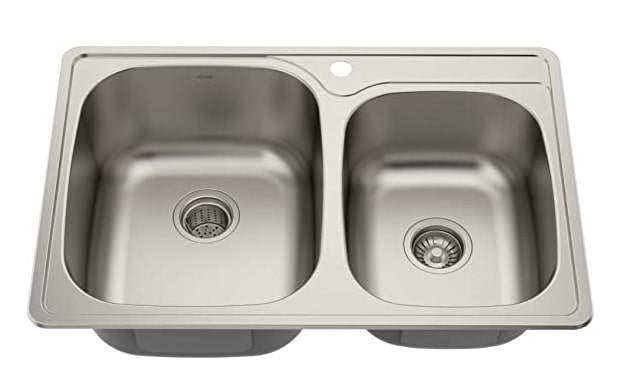 Kraus KTM32 33 inch Topmount 60/40 Double Bowl 18 gauge Stainless Steel Kitchen Sink