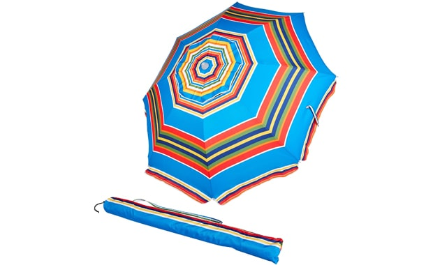 AmazonBasics Red/Blue Striped Beach Umbrella