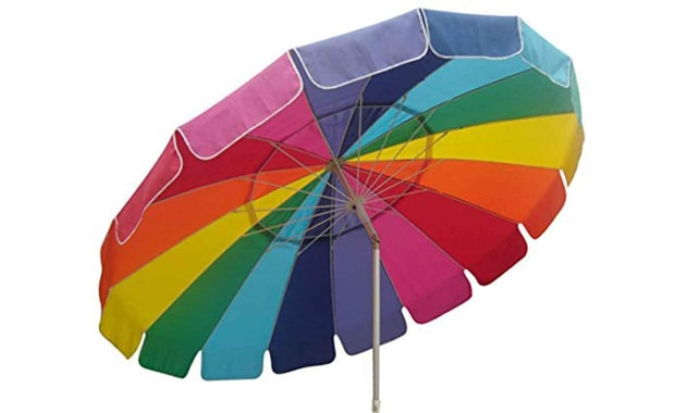 Impact Canopy UV Protected 8 Foot Beach Sand Anchor Umbrella