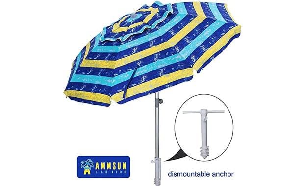 AMMSUN TS71014 Sand Anchor 7 Foot Adjustable Beach Umbrella
