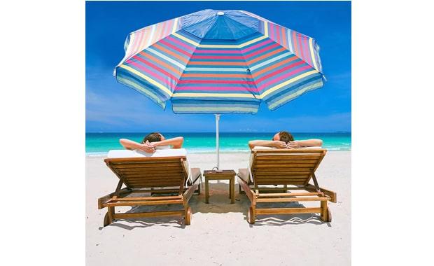 Abba Patio Sand Anchor 7 Foot Adjustable Beach Umbrella