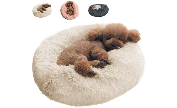BinetGo-Dog Bed Cat-Bed Cushion Bed Faux Fur-Donut Cuddler for Dog and   Cat
