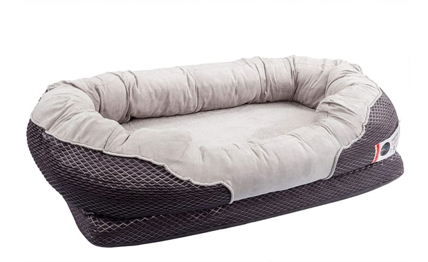 BarksBar-Gray Orthopedic Dog Bed-Snuggly Sleeper