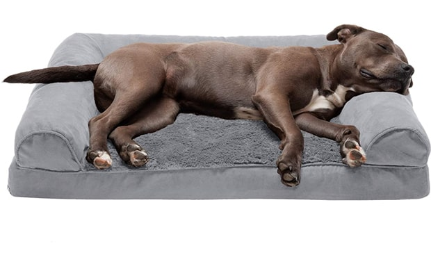 Furhaven-Plush Orthopedic L-Shaped Chaise Lounger and Traditional Sofa-Style   Dog Bed