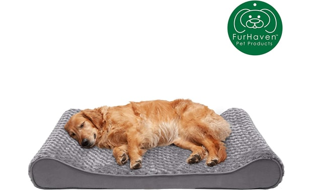 Furhaven-Plush Ergonomic Contour Cradle-Orthopedic Mattress Lounger Dog Bed