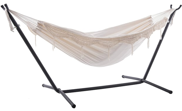 Vivere Double 450 lbs Hammock with Carry Bag & Steel Stand