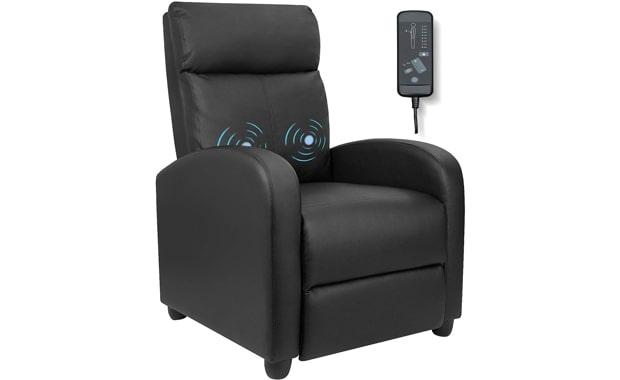 Furniwell Massage PU Leather Recliner Chair
