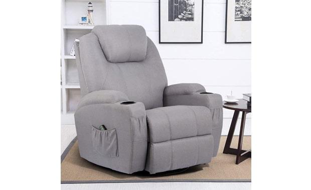 Esright 360° Swivel Massage Grey Recliner Chair
