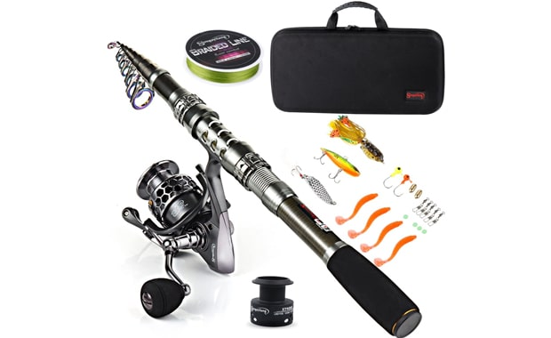 Sougayilang Telescopic Spinning Fishing Rod With Carrier Bag
