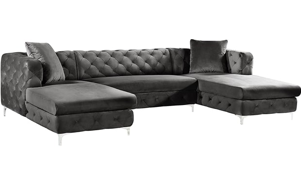 Meridian Furniture Modern Gail Collection - Velvet Upholstered Contemporary Sectional Sofa