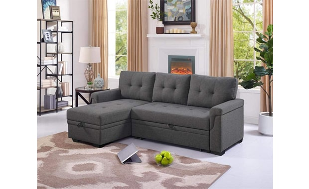 Lilola Home Reversible Lucca Linen Sectional Sleeper Sofa