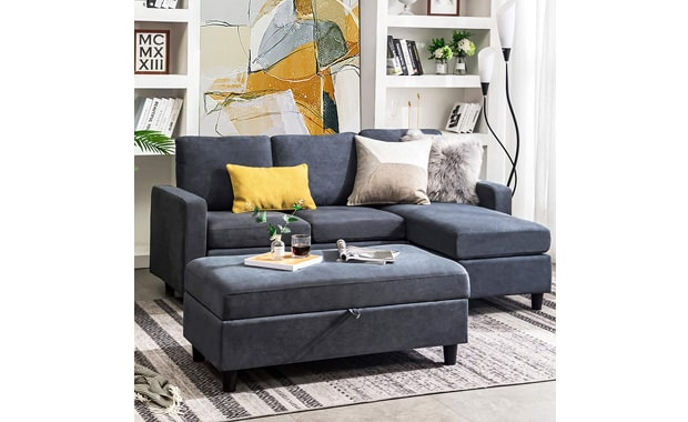 HONBAY Modern Reversible Linen Fabric Sectional Couch