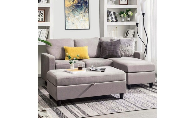 HONBAY Sectional L Shaped Convertible Couch