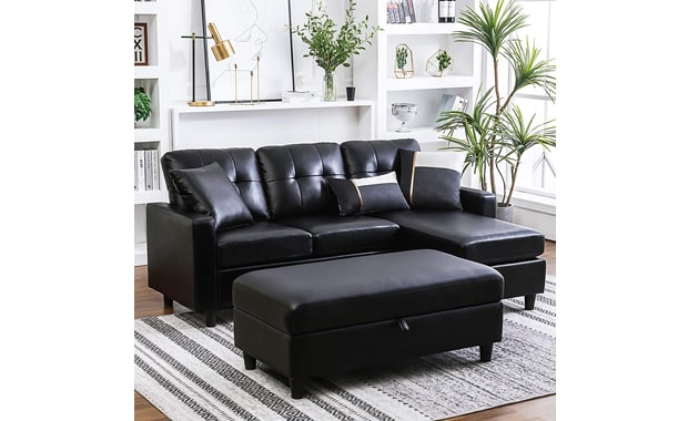 HONBAY Convertible L Shaped Faux Leather Sectional Sofa