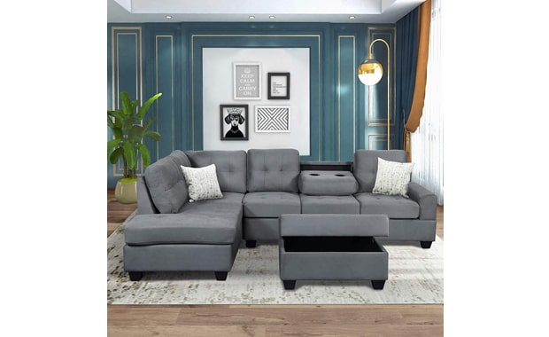 Merax Sectional 3-Seat Sofa with Ottoman and Chaise Lounge