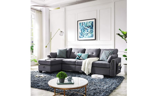 HONBAY Reversible L-Shaped 4-seat Sectional Sofa