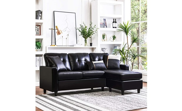 HONBAY Faux Leather Convertible L-Shaped Sectional Sofa