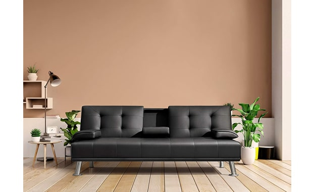 Flamaker Faux Leather Futon Convertible Sofa Bed