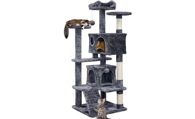 "YAHEETECH Cat Tree 54.5"" Condo Furniture With Scratch Post"