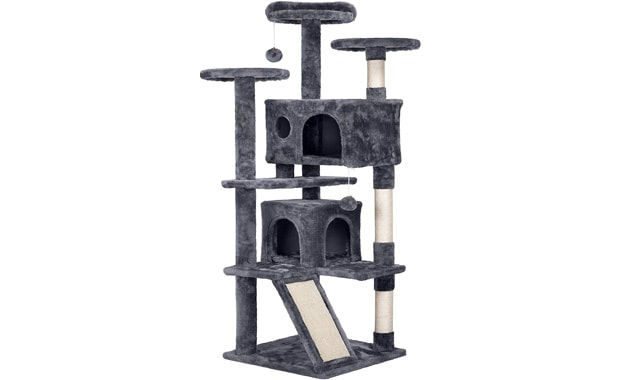 "Topeakmart Multi-Level 54"" Cat Condo Cat Tree with Scratch Posts"