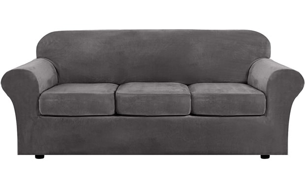H.VERSAILTEX 4 Piece Modern Velvet High Stretch Washable Sofa Slipcover