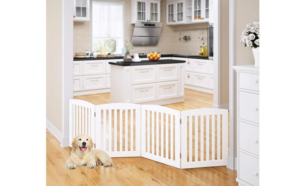 PAWLAND Freestanding Wooden Foldable Gate for Dog