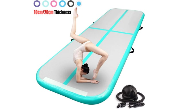 FBSPORT Air Track Gymnastics Inflatable Tumbling Mat with Pump