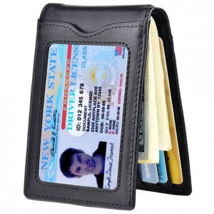 Slim Leather Bifold Wallet with Money Clip