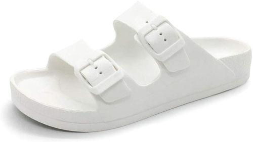 Best Double Buckle Slides: FUNKYMONKEY Women's Comfort Sandals Double Buckle Adjustable EVA Flat Sandals